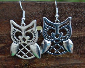 original earrings, antique silver owls