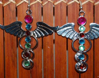 Chakra wing and arrow earrings with Rhinestones