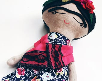 Frida Kahlo doll, handmade rag doll, women empowerment, soft toy, girl doll, Christmas present, heirloom keepsake, imaginative play, artist