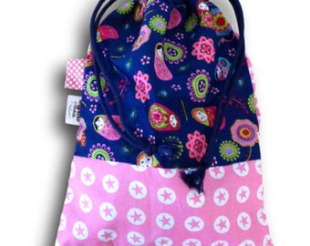 taste matriochkas Navy and pink print cotton DrawString bag