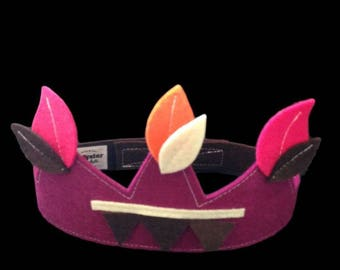 Kids costume accessory - purple felt Crown leaves pink, orange and chocolate - King - Queen - Prince - Princess
