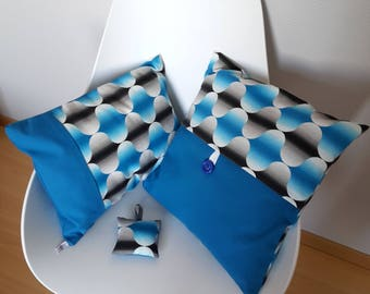 Electric blue geometric patterned pillow cover with colorful seventies style