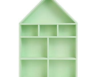 READY TO SHIP! Green Wooden Dolls House