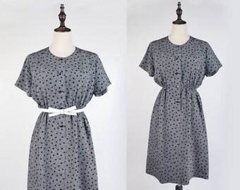 Vintage Dress, Vintage Japanese Dress, Black Polka Dot White Wavy Print Short Sleeves Black Gold Button Women Black Polyester Dress Size S-M