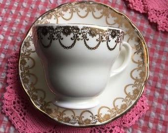 Gorgeous elegant duchess duo/white&gold bone china / white bone china