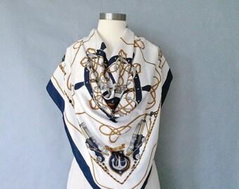 Vintage marine silky scarf one size