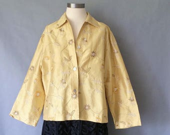 vintage silk blazer/silk jacket/embroidered jacket/embroidered blazer/silk outwear/floral women's size M/L made in USA