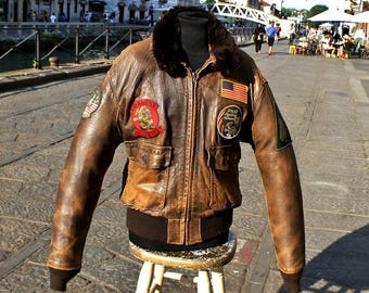 Leather jacket TOP GUN schott G1 original made in Usa