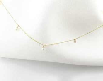 14K Fine Gold Pearl Droplets Necklace, 3.2MM Freshwater Pearls, White Pearl, June Birthstone, Delicate, BrookeMicheleDesigns