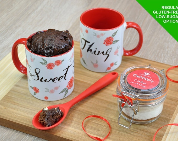 Baking Kit, Personalised Chocolate Mug Cake Kit with Cup, Spoon & Jar of Ingredients/gift for her/chocolate lover/cake lover/sweet tooth