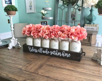 Farmhouse decor - Farmhouse table centerpiece - mason jar centerpiece - Rustic mason jar decor - mason jar decor - farmhouse table decor