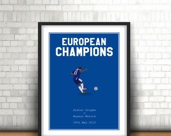 Didier Drogba Minimalist Chelsea Art Print 'Champions of Europe'