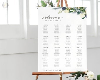 Wedding Seating Chart, Seating Chart Wedding, Wedding Table Plan, Seating Charts, Wedding Sign, Boho Wedding, Floral Seating Chart, #BGW