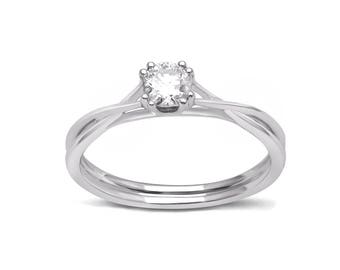 Diamond2Deal 14K White Gold 1/3 carat Solitaire  Diamond Engagement Ring