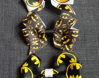 "Batman Inspired 3"" Hair Bow/Clip Set - DC Comics, Bruce Wayne"