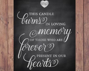 Wedding memorial sign - this candle burns in loving memory of those forever present in our hearts - rustic memorial - 8x10 - 5x7 PRINTABLE