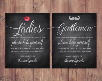 Wedding bathroom basket signs - womens and mens hospitality basket - his and hers bathroom signs - help yourself rustic PRINTABLE 8x10 - 5x7