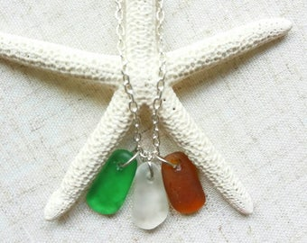 Genuine Sea Glass Necklace Irish Sea Glasss Necklace Beach Glass Necklace Sea Glass Jewelry Beach Glass Jewelry Irish Jewelry Irish Flag
