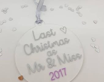 last christmas as mr & miss, bride to be, christmas bauble, engagement gift, personalised christmas bauble, christmas tree decoration