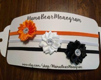 Baby Headband Set, Halloween Bows, Black,Orange, White Headbands, Infant Headbands, Newborn Girl Headband, Halloween Bow Headbands