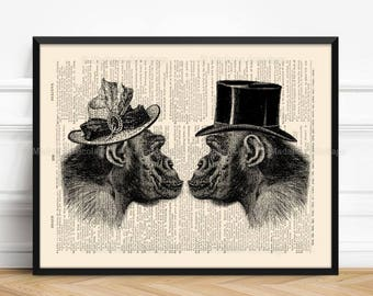 Gorilla, Couples Gift Poster, Love At First Sight, 8th Year Anniversary, Cool Groomsmen Gift, Cool Wall Hanging, Victorian Wall Decor,  195