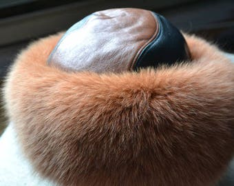 Hat fur and leather