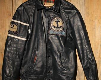 Very Rare 1969 Hockey Leather Button Up Mens Jacket ! Woodstock Navy Vets +