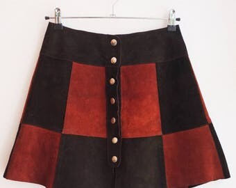 Vintage suede patchwork seventies retro hippie boho leather skirt S