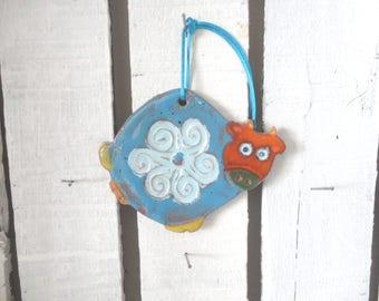little naïve blue cow ceramic glazed hanging - decor child's room