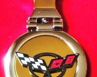 Corvette C5 18K Gold Keychain with Silver Trim-Free Engraving