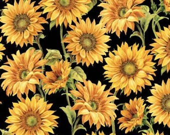 Follow the Sun Black Large Packed Sunflowers by Lisa Audit for Wilmington Prints, quilting cotton fabric by metre by yard floral 86429-957