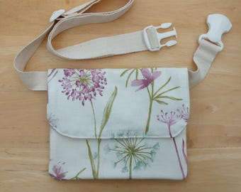 Wildflowers Belt Bag, Hip Purse, Bum bag, Waist Bag, Money Belt, Slim Fanny Pack or Travel Wallet