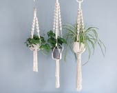 Chunky Macrame Plant Hanger / Spiral Crown / 3 sizes / Handmade Hanging Planter