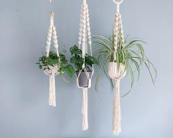 Chunky Macrame Plant Hanger / Spiral Crown / 3 sizes / Handmade Hanging Planter