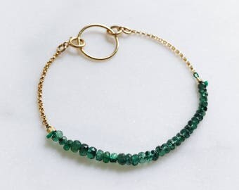 E M E R A L D | Reversible emerald beaded bracelet - 14k gold filled chain jewelry
