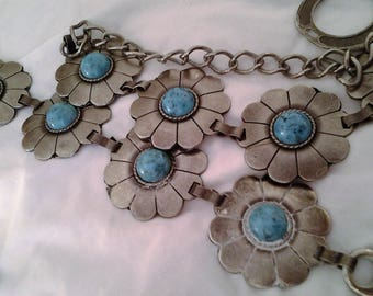 20% off Boho Pewter and Turquoise Flower Belt - Gypsy - Hippy