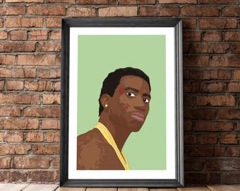 Gucci Mane Print, Posters and Prints, Hip Hop Portrait, Gucci Mane, Poster with Rapper, Hip Hop Poster, Wall Decor, Gucci Mane Print, Pop