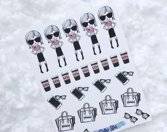 Fashion Girls Coffees & Bags Stickers