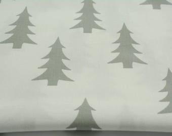 Fabric 100% cotton 50 x 160 cm, 100% grey cotton tree on a white background fabric, Scandinavian design