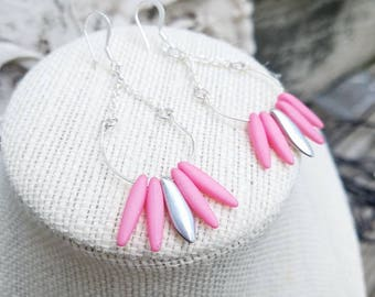 Matte pink and silver dangle earrings