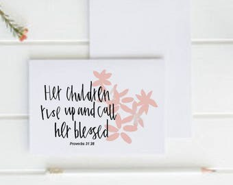 Christian Greetings Card - 'Her children rise up' - Original Hand Drawn Card - For Wife, Mother, Grandmother - Eco Friendly