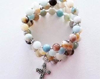 Amazonite Our Lady of Fatima Rosary Wrap Bracelet