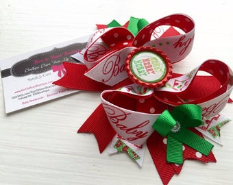 Christmas Boutique Bow, Holiday Boutique Bow, Boutique Bow, Girls Hair Bow