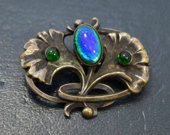 Antique PEACOCK GLASS Art Nouveau Gingko Leaves Jugendstil Unusual BROOCH / Pin