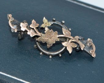 Antique Sterling SILVER & GOLD Overlay Ornate Victorian LEAVES Brooch / Lace Pin