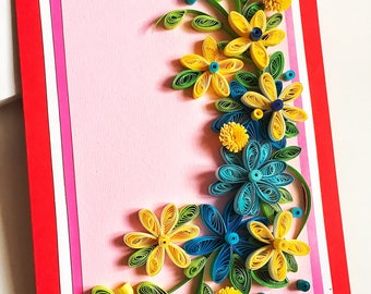 Quilling flower,Greeting Card by our friends and family,Gorgeous Quilled Birthday,Sweet Handmade,Pleasant things,Paper quilling card,quiling