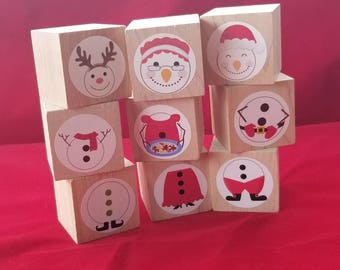 STOCKING STUFER, puzzle snowman blocks, Build a snowman, stacking blocks for toddlers and preschool children, christmas eve box