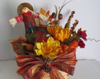 Scarecrow Themed Silk Flower Basket Arrangement, featuring Scarecrow Pick, Gourds, and a Handmade Bow