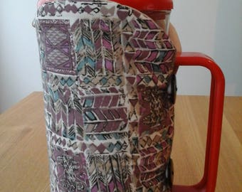 Cafetiere cosy, coffee pot cosy, cafetiere, cosy, coffee cosy, mauve and beige