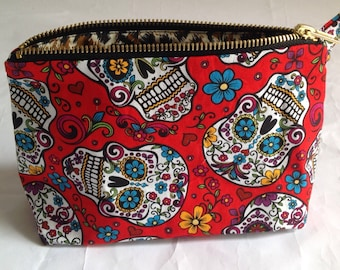 Red  Sugar skull handmade fabric cosmetic  bag, pouch, purse for toiletries, makeup